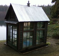 Fantastically creative greenhouses, backyard retreats, garden rooms, chicken coops and even outdoor showers. They are built using salvaged and recycled materials. #garden #shed #greenhouse #home #recycled #salvaged by Bob Bowling Rustics.
