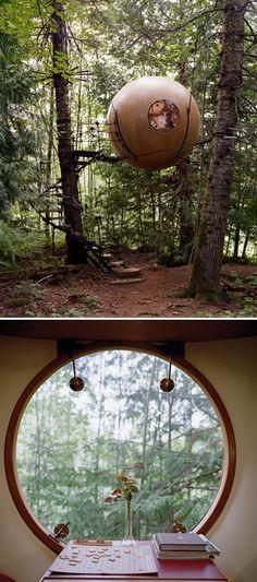 Baumhäuser gibt's auch für Erwachsene. Dieses Kugelhotel hängt in den Wäldern von Vancouver Island in #Kanada #Hotels
