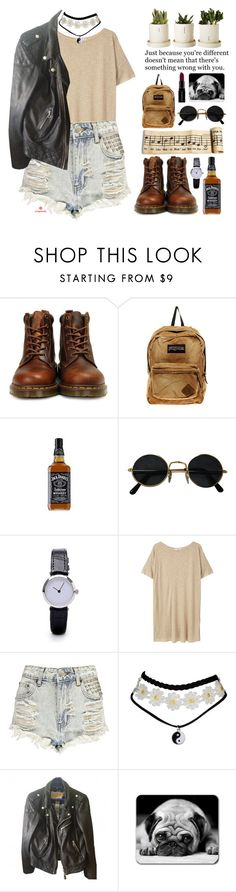 """~Old school feelings~"" by amethyst0818 ❤ liked on Polyvore featuring Dr. Martens, JanSport, MANGO, Boohoo, Schott NYC and Smashbox"