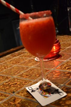 Game night- Signature Drink - Casino Crush. 1 bag froz. strawberries, 3 cans lemon lime soda, 1 can frozen limeade, lime juice and vodka, went thru 3 pitchers quickly!