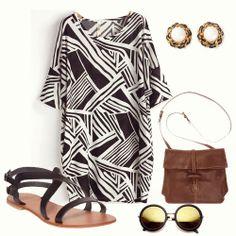 Black White Asymmetrical Striped Loose Dress