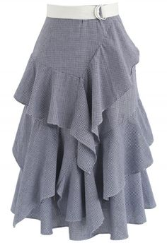 Lights, camera, fashion! Take center stage and rule the spotlight in this saucy statement skirt boasting blue stripes, ruffles, and a tiered design. - Tiered ruffles trimmed - Asymmetric hi-lo hemline - Concealed side zip closure  - Lined - 65% polyester, 35% cotton - Hand wash cold Size(cm) Length  Waist XS               54-91      66 S                  54-91      70    M                 55-92      74     L                  56-93      78 Size(inch)Length  Waist XS               21-35.5  …