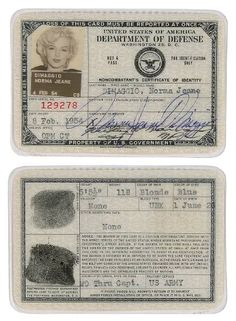 Marilyn Monroe, passport, signed, autograph, identification card