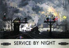 David Shepherd (artwork) ), British / 'Service by Night', British Railways poster promoting night railway services, 1955 / National Railway Museum, UK Train Posters, Railway Posters, Museum Poster, British Travel, National Railway Museum, Train Art, Train Pictures, Art Deco Posters, Poster Ads