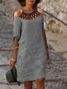 Stitching Dresses, Maxi Shirt Dress, Straight Dress, 50 Fashion, Kind Mode, Types Of Sleeves, Short Sleeve Dresses, Long Dresses, Shift Dresses
