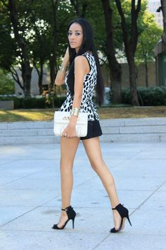 Little black and white dress and ankle strap high heel sandals. Maytedoll Fashion Blog. Beauty on High Heels #Fashion