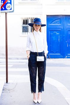 Blue lace trousers + blue hat + white shirt