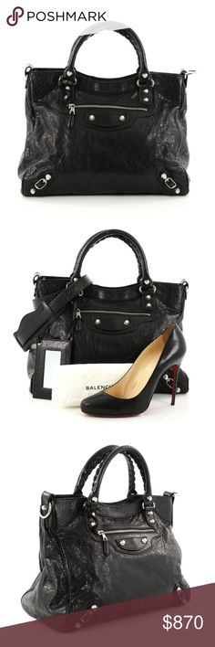 """Balenciaga Velo Giant Studs Handbag Leather Condition: Great. Minor wear on base corners and handles, light wear in interior, and scratches on hardware.  Accessories: Detachable strap, mirror and dust bag.  Measurements: Handle Drop 4.5"""", Height 11.5"""", Width 13"""", Depth 6.5"""", Strap Drop 18-20"""" Designer: Balenciaga Model: Velo Giant Studs Handbag Leather Item Number: 27609/02 No counter offers accepted. Balenciaga Bags Shoulder Bags"""