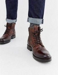 Base London HOPKINS Mens Leather Lace Up Casual Brogue Ankle Boots Burnished Tan