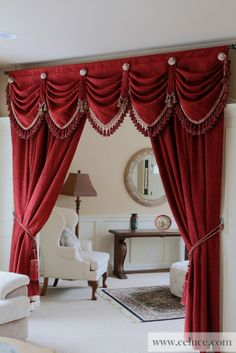 Red Chenille - Austrian Diamond Swag Valance Curtain Drapes http://www.celuce.com/p/222/red-chenille-austrian-diamond-swags-and-valances-curtains The decadence and sophistication of the Romantic Era are reimagined in this Austrian Diamond style red chenille swag valance curtains. This unique style is one of our new favorite design additions.