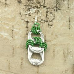 soda tabs and green chainmaille earrings green by tabsolute