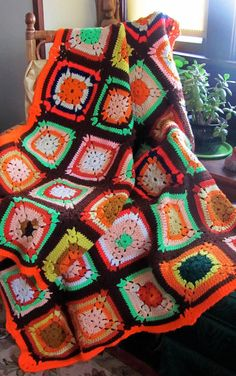 Psychedelic 70s Granny Squares Afghan Throw by BellaLaineVintage, $39.00