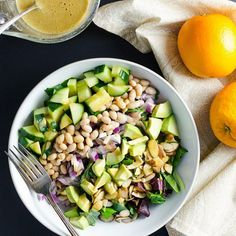 NEW: Easy Green Salad with Orange Ginger Dressing - a few minutes of chopping and blending delivers a healthy #plantbased #vegan #glutenfree meal. Find the recipe here:  http://veggieprimer.com/easy-green-salad/ by veggieprimer