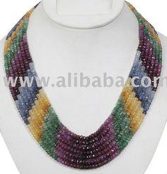 Stunning 7 Strand Multi -Gemstone Designer Necklace (Ruby,Emerald,Blue & Yellow Sapphire)