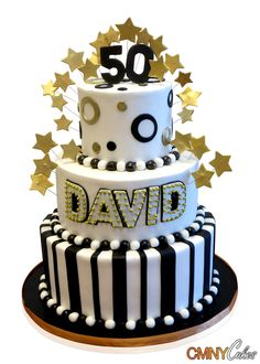 Turning the big Five-0 will never be depressing when you have a party and a cake like this! This stunning cake was made for David and delivered to the Jewel Restaurant, Melville, New York, for a 50th birthday party that hosted 75 people. Gold, black and white were the theme colors and we set off to make a really great creation. The base is black and features a gold ribbon around the edge. The first tier is covered in black and white fondant in a stripe pattern of wide and narrow strips. The…