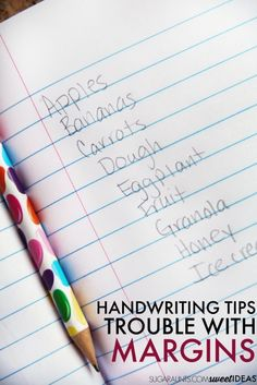 Easy accommodations for poor spatial awareness in handwriting. Handwriting Samples, Handwriting Analysis, Cursive Handwriting, Penmanship, Paragraph Writing, In Writing, Writing Prompts, Therapy Activities, Learning Activities