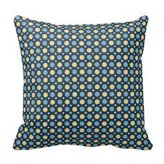 Baby Blue Yellow Dots  Stars Pattern Cushions