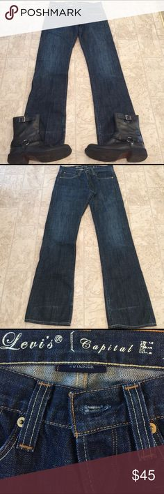 Levi capital jeans size 32/34 This is a pair of Levi capital jeans size 32/34 button down fly comfort fit dimensions on waste 37 inseam 36 length 43 Levi capital Jeans Boot Cut