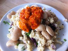 Butterbean, feta, olives on cous cous with Macedonian Aivar by @pelagonia_range
