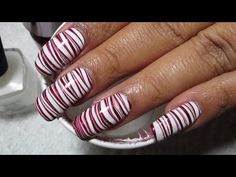 Candy Cane Water Marble Nail Art Tutorial - YouTube