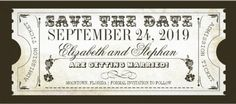 Vintage Save the Date Wedding Invitations. Classic ticket style. #save_the_date_invitations