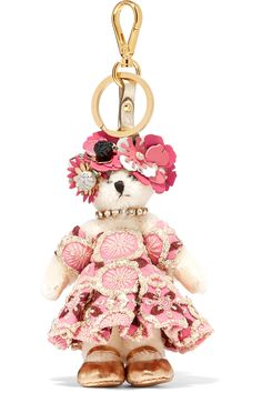 Prada - Embellished Jacquard And Faux Fur Keychain - Pink - one size Bling Purses, Fur Keychain, Leather Factory, Leather Flowers, Prada Handbags, Classic Leather, Pink Flowers, Faux Fur, Creations