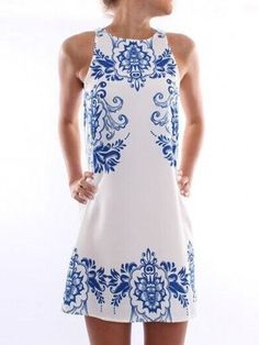 Absorbings Sleeveless Round Neck  Printed Shift-dresses