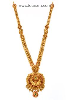 Gold 'Peacock' Long Necklace with Color Stones (Temple Jewellery) - in Grams Gold Temple Jewellery, Gold Jewellery Design, Gold Jewelry, Jewelry Necklaces, Women Jewelry, Bridal Jewelry, Tiny Necklace, Gold Necklace, Tiffany And Co Necklace