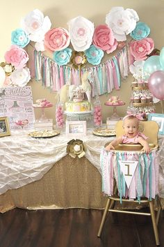 A Pink Gold Carousel 1st Birthday Party
