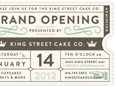 Dribbble - King Street Cake Ticket by Becky Weykamp Typography Letters, Typography Design, Lettering, Pattern Design, Print Design, My Design, Logo Design, Layout Inspiration, Graphic Design Inspiration