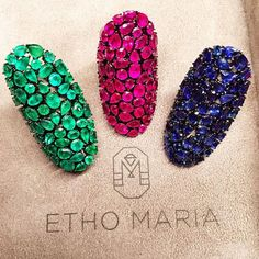 Which one would you pick? Vibrant #emerald #ruby and #sapphire rings by Etho Maria We love them all!