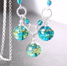 Aqua blue glass necklace