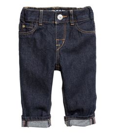 5-pocket jeans in washed denim. Straight legs, fly with snap fastener, and ribbing and adjustable elastication at waist. Mock pockets at front.