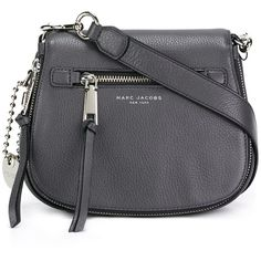 Marc Jacobs small 'Recruit' saddle crossbody bag (£330) ❤ liked on Polyvore featuring bags, handbags, shoulder bags, grey, purses, leather handbags, leather man bags, leather purses, grey leather handbags and cross-body handbag