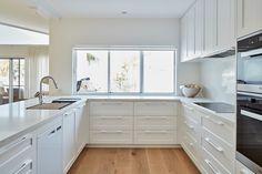 Caesarstone Quartz Colours for Kitchens & Bathrooms Kitchen Dining, Kitchen Colors, Open Plan Kitchen, Cabinetry, Kitchen, Kitchen Design, Kitchen Dining Room, Kitchens Bathrooms, Beach House Decor