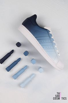 ece624c37b9 Explore our Navy blue ombre custom Adidas shoes. Looking for custom Adidas  superstars, women's
