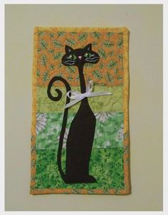 Black Cat   Quilted Wall Hanging by ElleJays on Etsy, $18.00