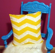Super easy chevron pillow. love the yellow chevron pattern! these WILL be on my couch!