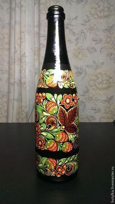 Стеклянная бутылка, ручная роспись.. Handmade.