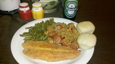 Fried Fish Jambalaya and String Beans