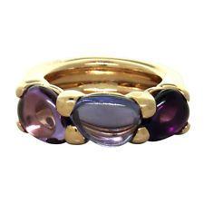New Pomellato Sassi 18k Gold Amethyst Iolite Ring $3655