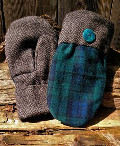 Warm plaid wool with a green and dark blue pattern on top and a black and white wool herringbone for the palm and cuff. It is finished with a large green button detail. They are lined with a soft black fleece and a tapered to fit thumb, all hand-sewn. Sweater Mittens, Wool Sweaters, Bear Design, Green Button, Herringbone, Birkenstock, Hand Sewing, Plaid, Trending Outfits