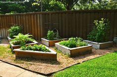 Raised Garden Beds -I Like the Different Shapes to Fill in an Awkward Corner in a Backyard: 27 DIY Home Decorating Projects to Make!  via tatertotsandjello.com