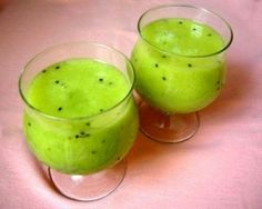 Mango Kiwi smoothie - mango, kiwi, pineapple juice - can add 99 cherries and malibu maybe