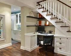 Cool office nook under staircase with more info at: www.DreamDecorator.blogspot.com/2013/05/home-office-under-staircase.html and image via www.Facebook.com/pages/Dream-Decorators/584875848206780