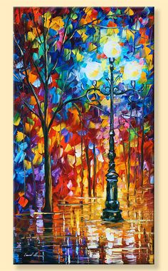 """Lumière dans la ruelle, paysage de nuit édition limitée colorée impression sur toile par Leonid Afremov. Taille : 20 """"X 36"""" pouces (50 cm x 90 cm)"""