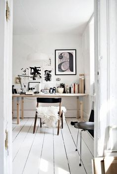 Bright white weathered wood floors for kitchen floor and master bedroom floor. Like how the cracks show home office organizing