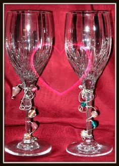 Wire wrapped Bride and Groom toasting glasses