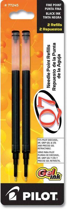 Pilot Q7 Needle Point Gel Pen Refills - Black - Fine Point - 2 Pack