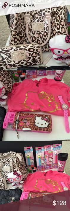 Hello Kitty Leopard Purse Bundle $80 on Ⓜ️ Purse, wallet, shirt, iPad case, 2 watches-will need batteries, Pez collection, 2 figures. 1 plush toy. Pencil case.   Buyer/seller Disclaimer:  Do not ask me to lower my asking price so you can turn around and resell it for your profit.  Taking advantage of someone else's generosity so you can profit is lacking of moral compass.  I caught several people doing this and it is wrong. Conduct yourself in the market place with moral soundness and…